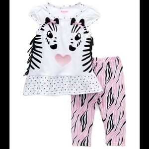 Nannette Matching Sets - Nannette Zebra Fringe Sleeve Top & Zebra Leggings